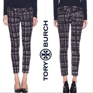 Tory Burch corner tan front skinny plaid jeans